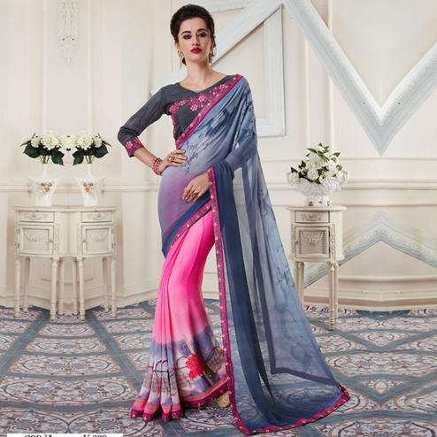 Trendy Gray-Pink Colored Printed Georgette Half-Half Saree