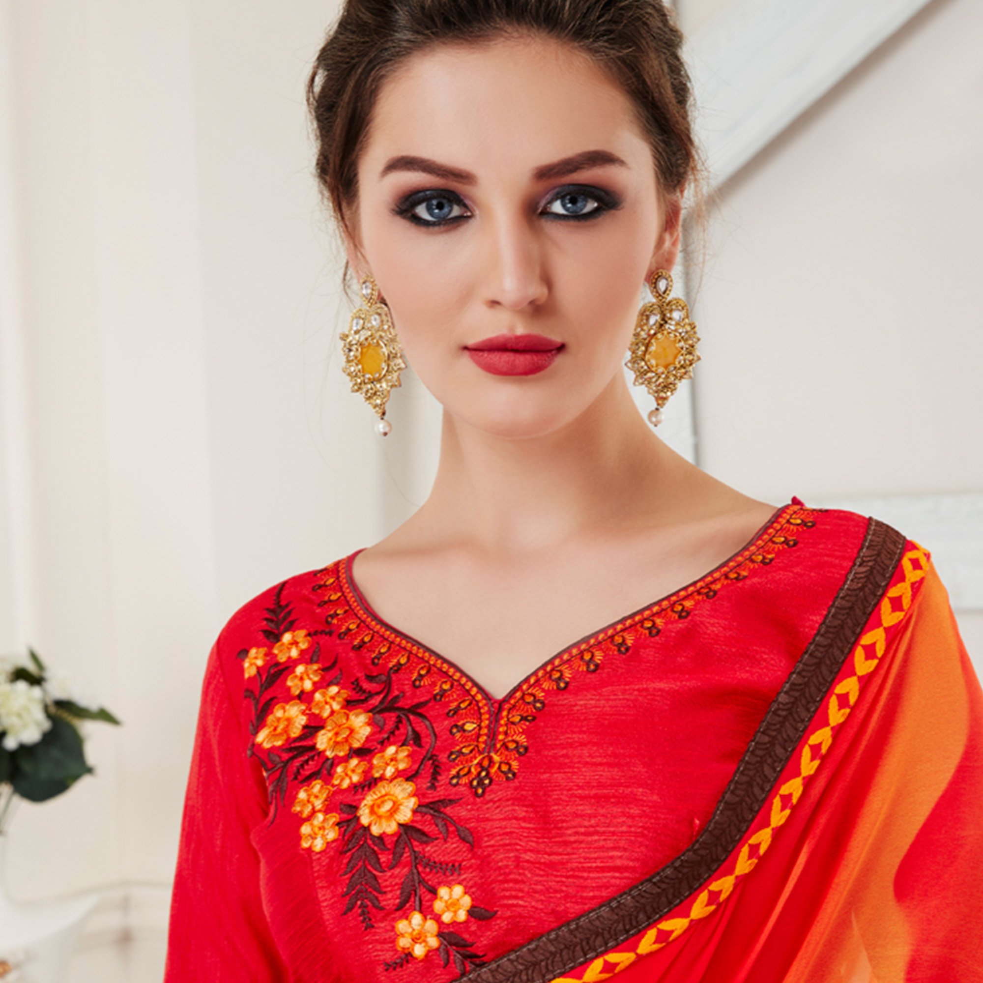 Traditional Red Colored Printed Georgette Half-Half Saree