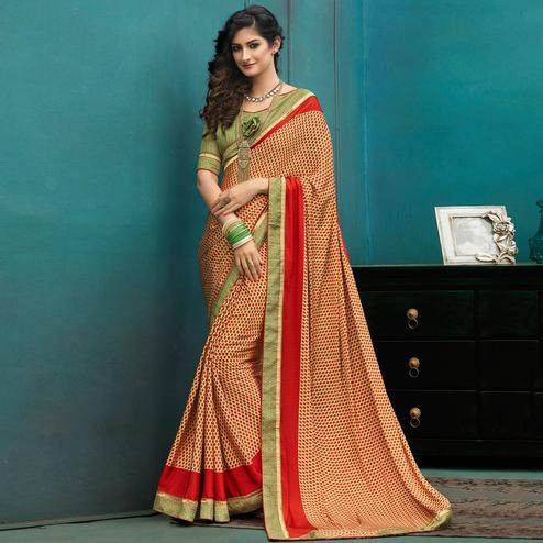 Stylish Beige-Green Colored Casual Printed Crepe Saree