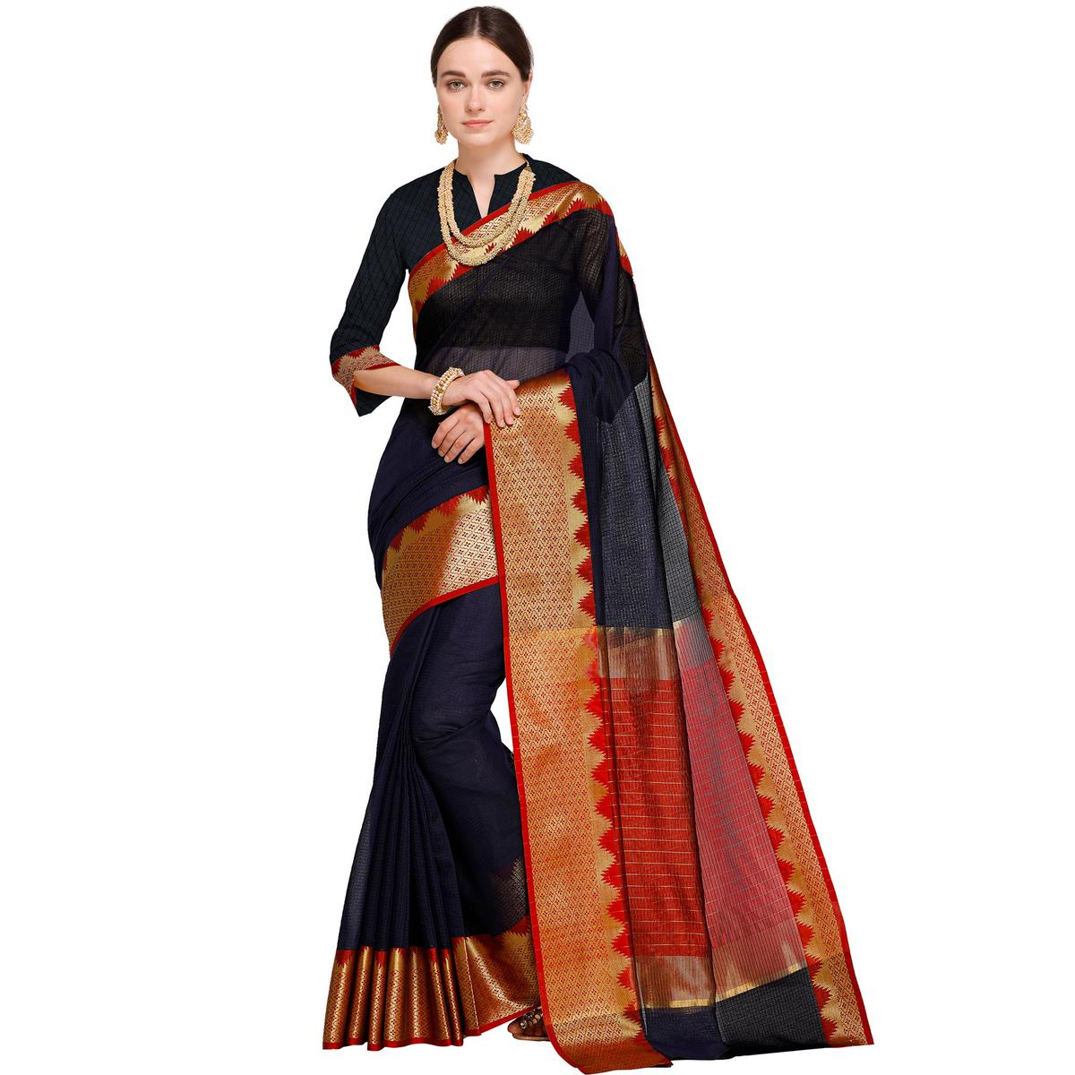 Ideal Navy Blue Colored Festive Wear Woven Art Silk Saree