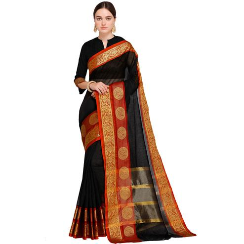 Engrossing Black Colored Festive Wear Woven Art Silk Saree