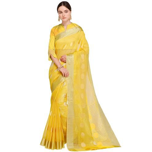 Fantastic Light Yellow Colored Festive Wear Woven Art Silk Saree