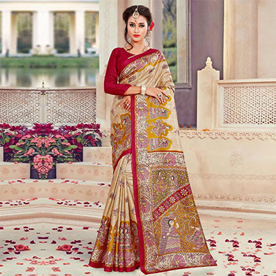 Beige-Red Traditional Printed Bhagalpuri Silk Saree