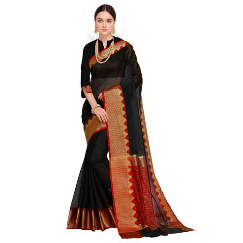 Staring Black Colored Festive Wear Woven Art Silk Saree