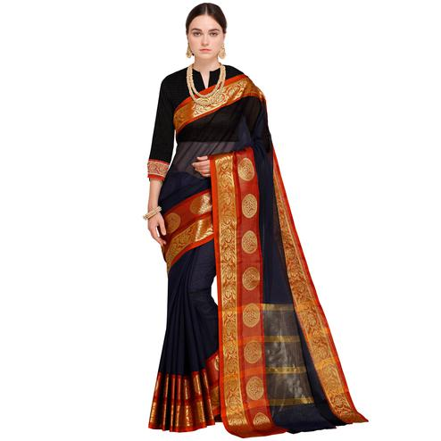 Pleasance Navy Blue Colored Festive Wear Woven Art Silk Saree