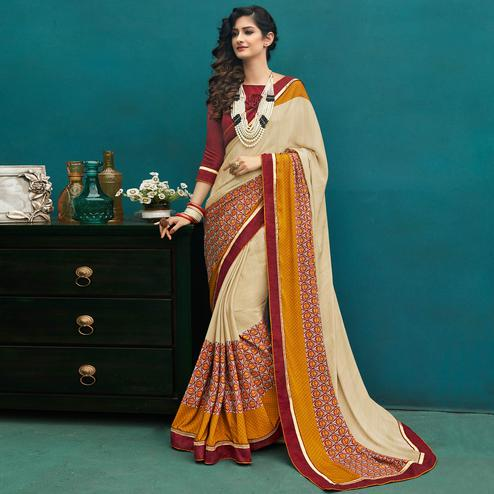 Appealing Off-White Colored Casual Printed Crepe Saree