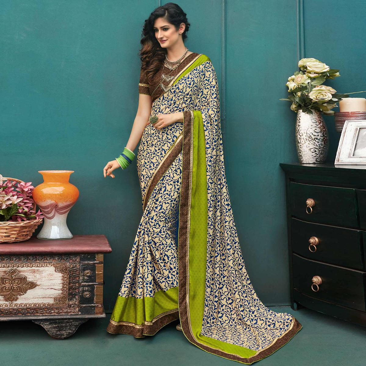 Beautiful Multi Colored Casual Printed Crepe Saree