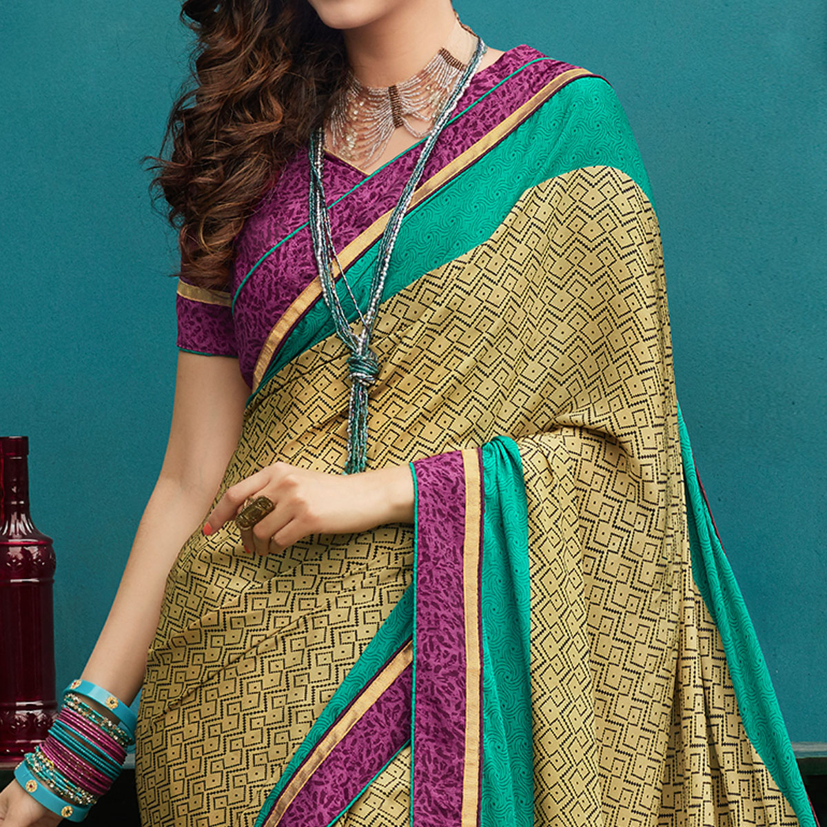 Different Olive Green Colored Casual Printed Crepe Saree