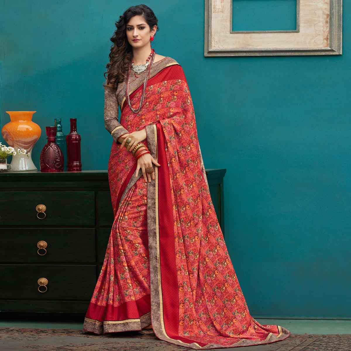 Glowing Red Colored Casual Printed Crepe Saree