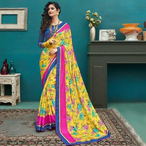 Mesmerising Yellow Colored Casual Printed Crepe Saree