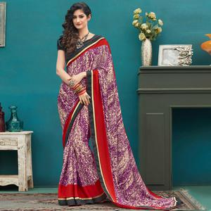 Pretty Purple Colored Casual Printed Crepe Saree