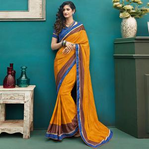 Lovely Mustard Yellow Colored Casual Printed Crepe Saree