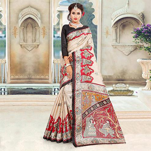 Beige-Black Traditional Printed Bhagalpuri Silk Saree