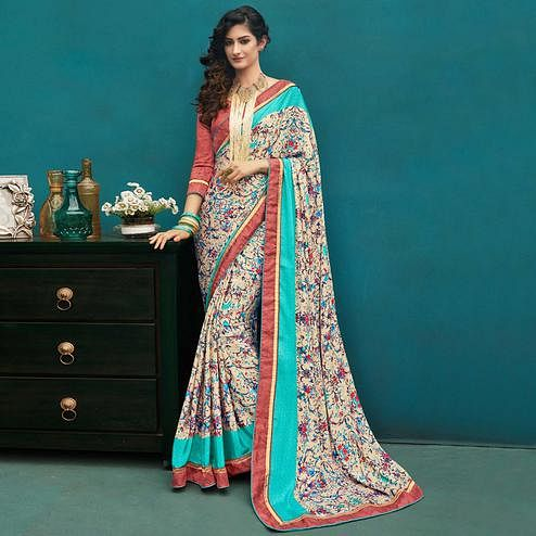 Impressive Multi Colored Casual Printed Crepe Saree