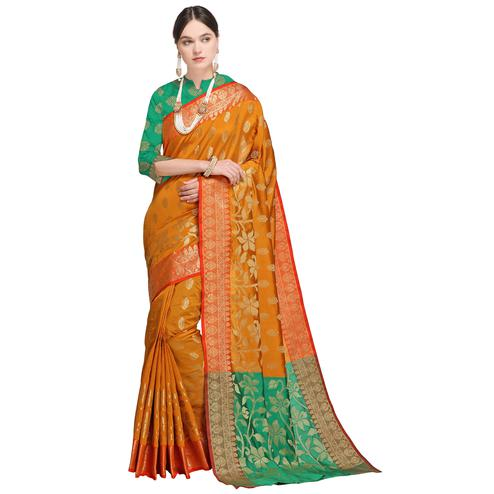 Jazzy Mustard Yellow Colored Festive Wear Woven Silk Saree