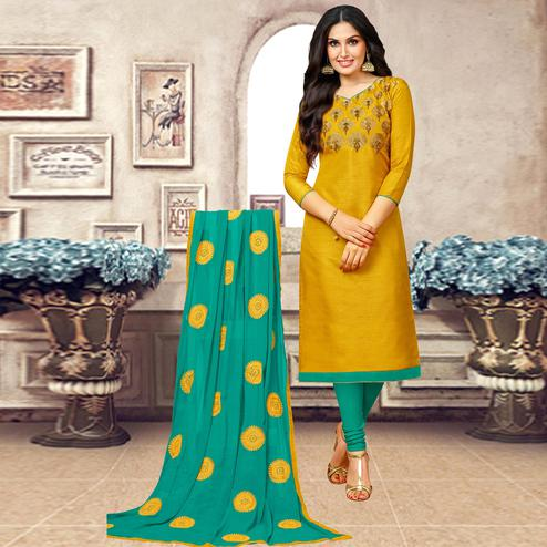 Attractive Mustard Yellow Colored Partywear Embroidered Banarasi Silk Suit