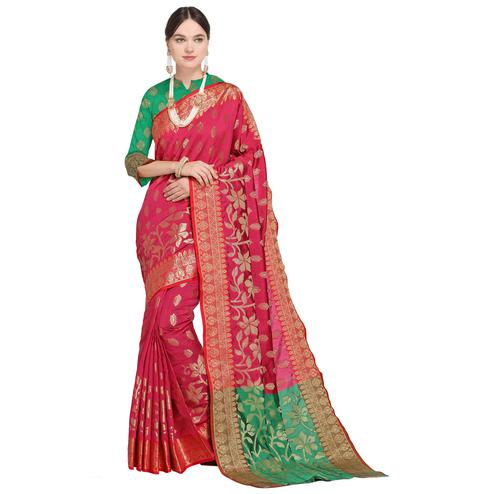Appealing Deep Pink Colored Festive Wear Woven Silk Saree