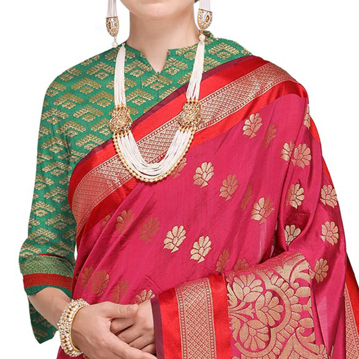 Groovy Deep Pink Colored Festive Wear Woven Silk Saree