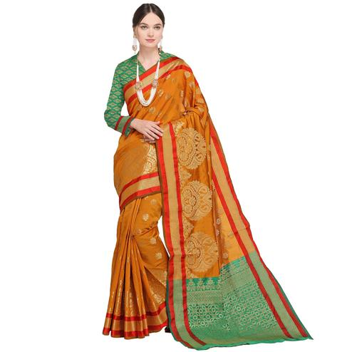 Prominent Mustard Yellow Colored Festive Wear Woven Silk Saree
