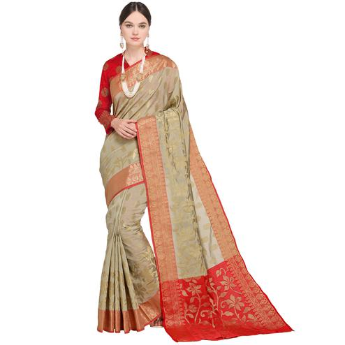 Capricious Pastel Grey Colored Festive Wear Woven Silk Saree