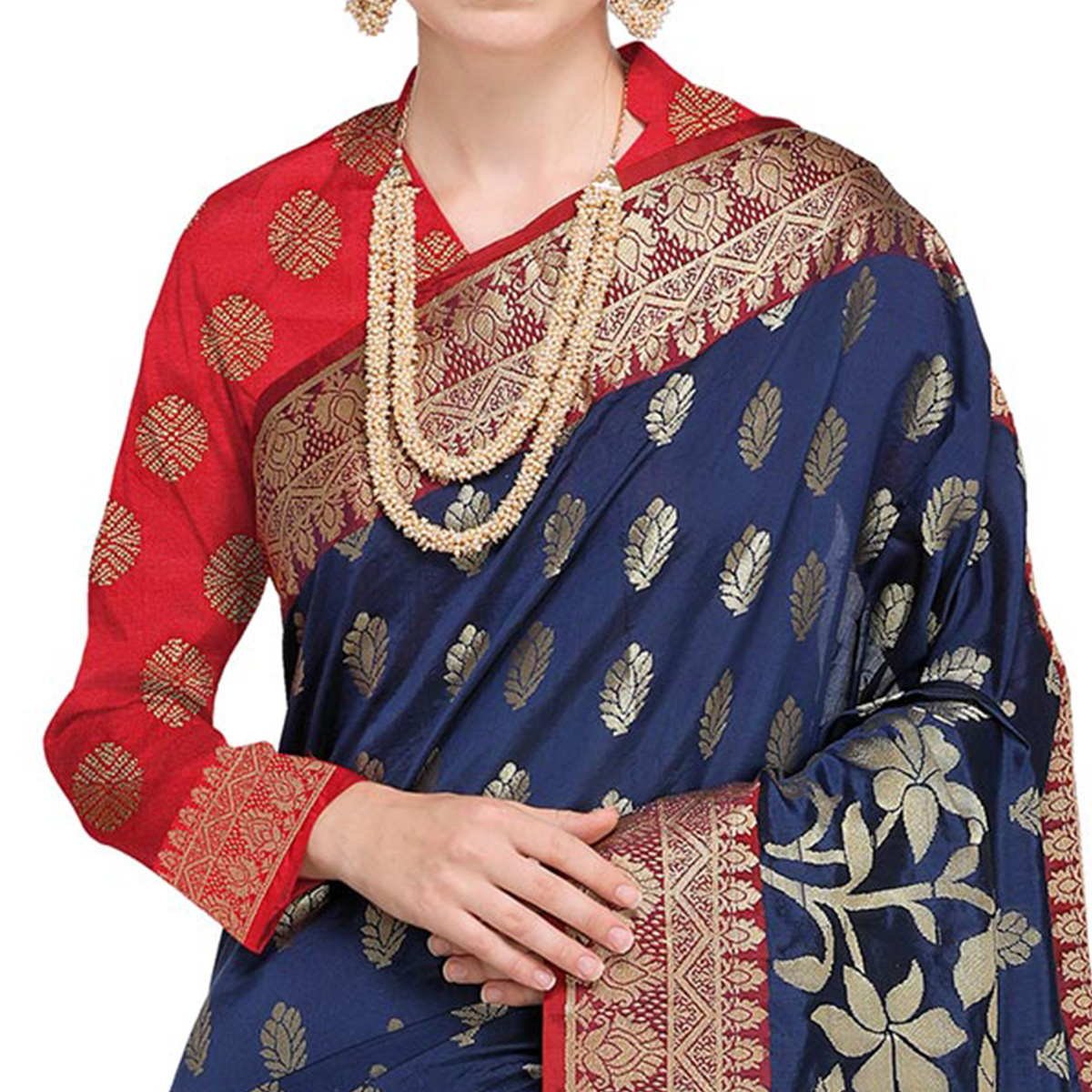 Adorning Navy Blue Colored Festive Wear Woven Silk Saree