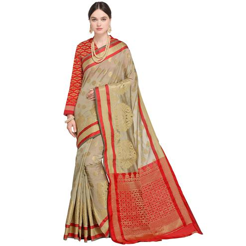Elegant Pastel Grey Colored Festive Wear Woven Silk Saree