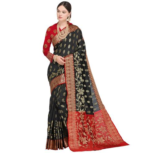 Alluring Black Colored Festive Wear Woven Silk Saree