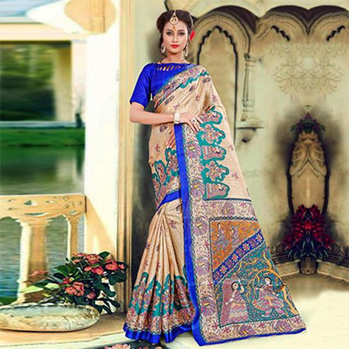 Beige-Blue Traditional Printed Bhagalpuri Silk Saree