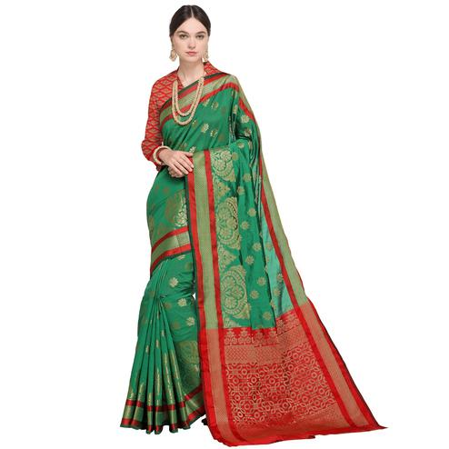 Radiant Green Colored Festive Wear Woven Silk Saree