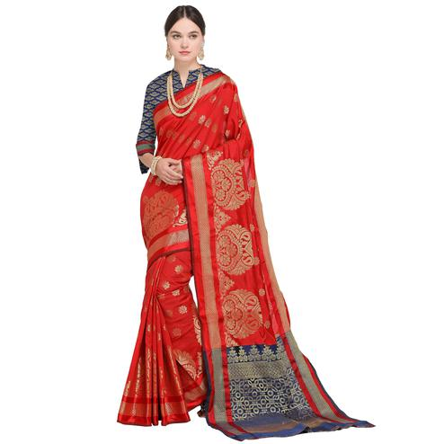 Impressive Deep Red Colored Festive Wear Woven Silk Saree