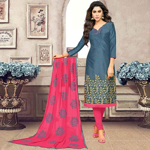 Stunning Gray Colored Partywear Embroidered Banarasi Silk Suit