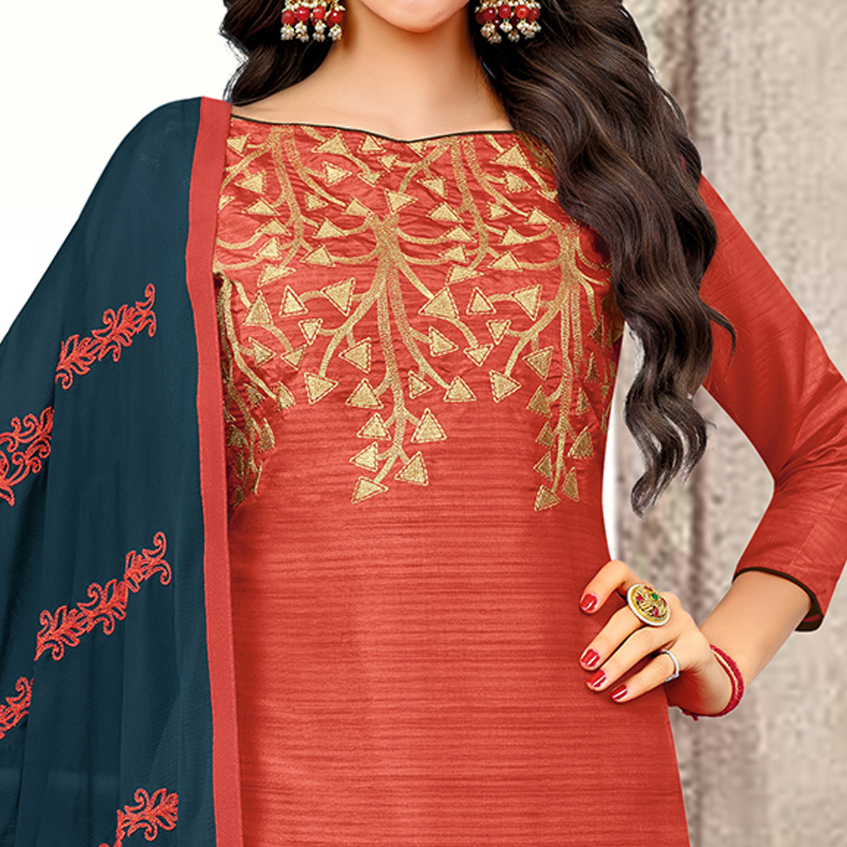 Gleaming Red Colored Partywear Embroidered Banarasi Silk Suit