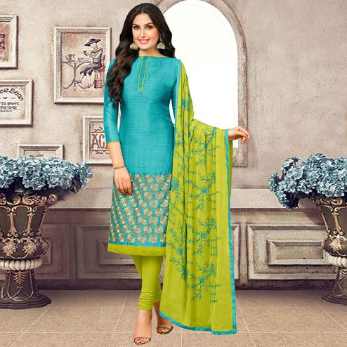 Impressive Sky Blue Colored Partywear Embroidered Banarasi Silk Suit