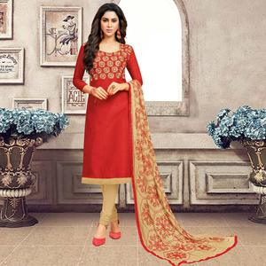 Blooming Red Colored Partywear Embroidered Banarasi Silk Suit