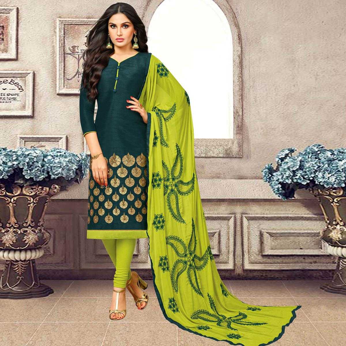 Flamboyant Teal Green Colored Partywear Embroidered Banarasi Silk Suit