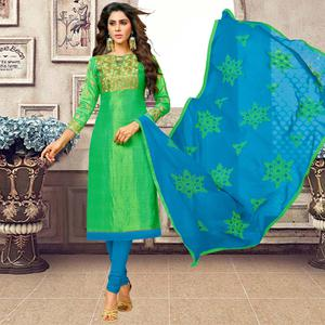 Flaunt Green Colored Partywear Embroidered Banarasi Silk Suit