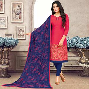 Pretty Pink Colored Partywear Embroidered Banarasi Silk Suit