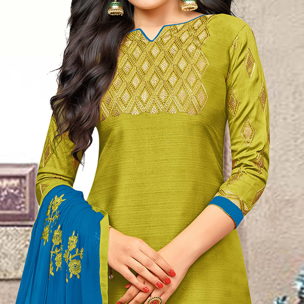 Different Mehendi Green Colored Partywear Embroidered Banarasi Silk Suit