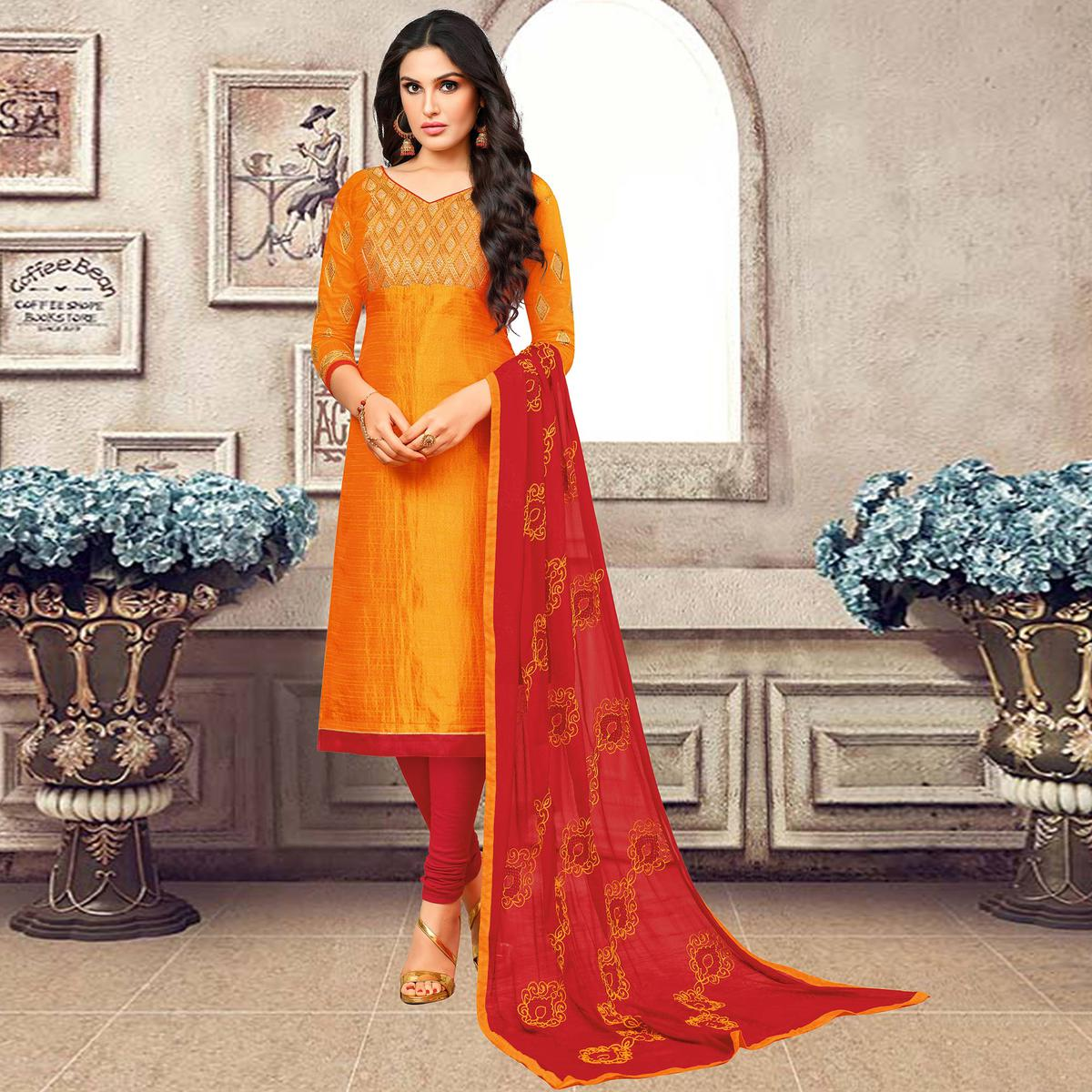 Traditional Orange Colored Partywear Embroidered Banarasi Silk Suit