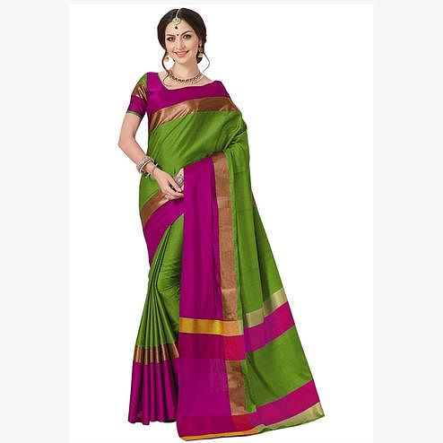 Elegant Green Colored Festive Wear Art Silk Saree