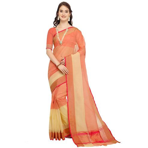 Pretty Peach Colored Festive Wear Art Silk Saree