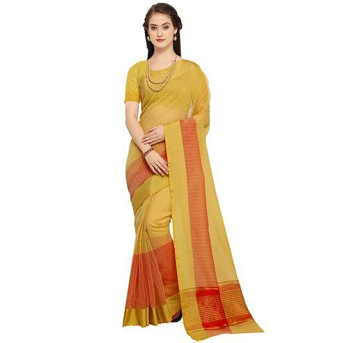 Gleaming Mustard Yellow Colored Festive Wear Art Silk Saree
