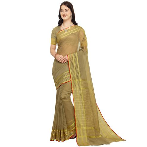 Different Olive Green Colored Festive Wear Art Silk Saree