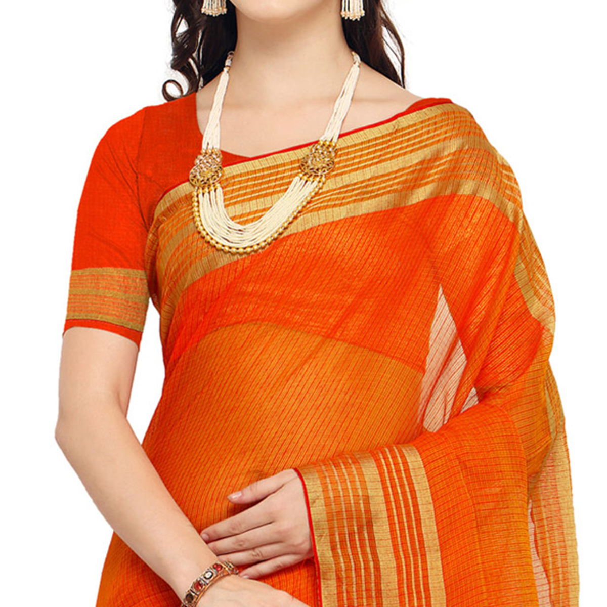Blooming Dark Orange Colored Festive Wear Art Silk Saree