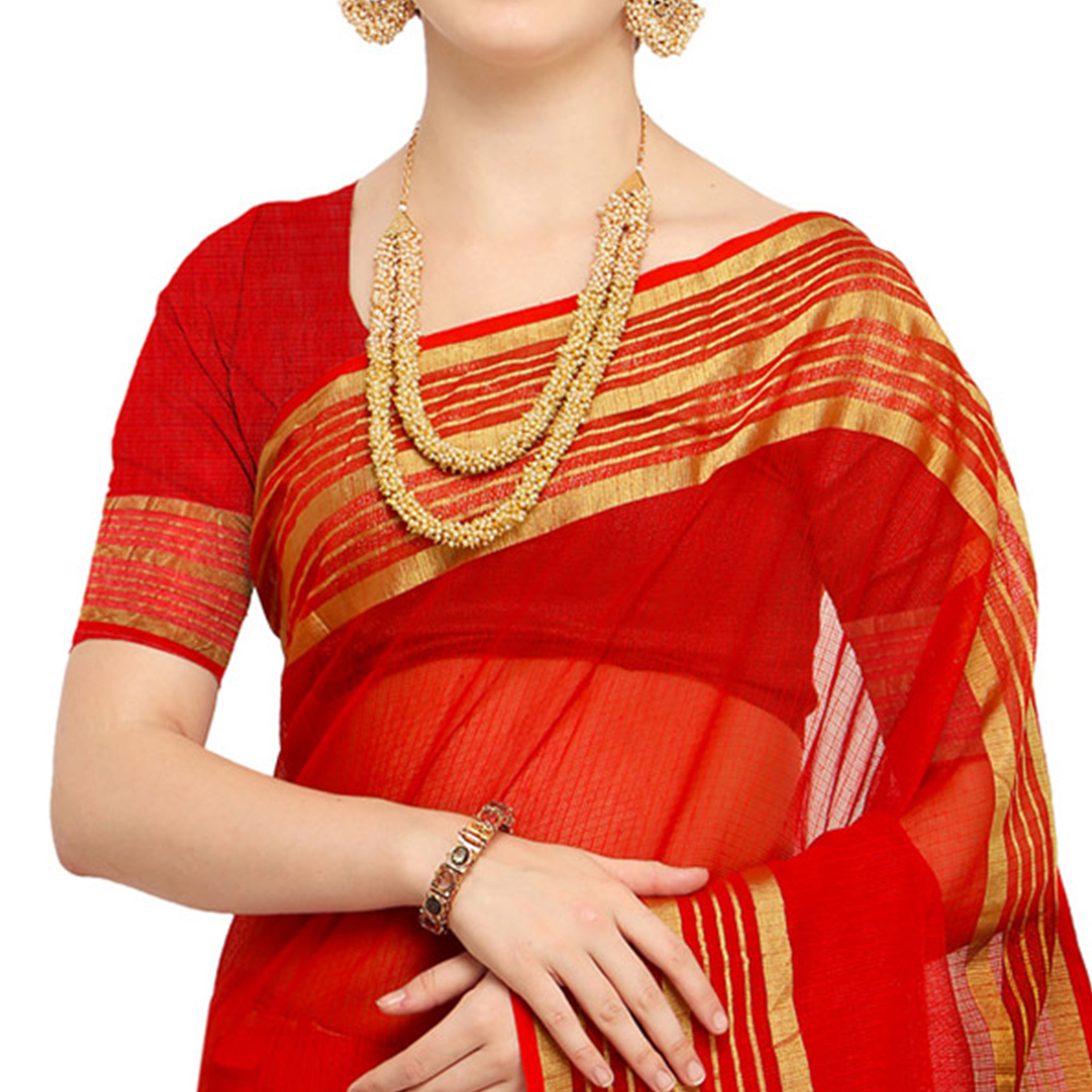 Adorning Red Colored Festive Wear Art Silk Saree