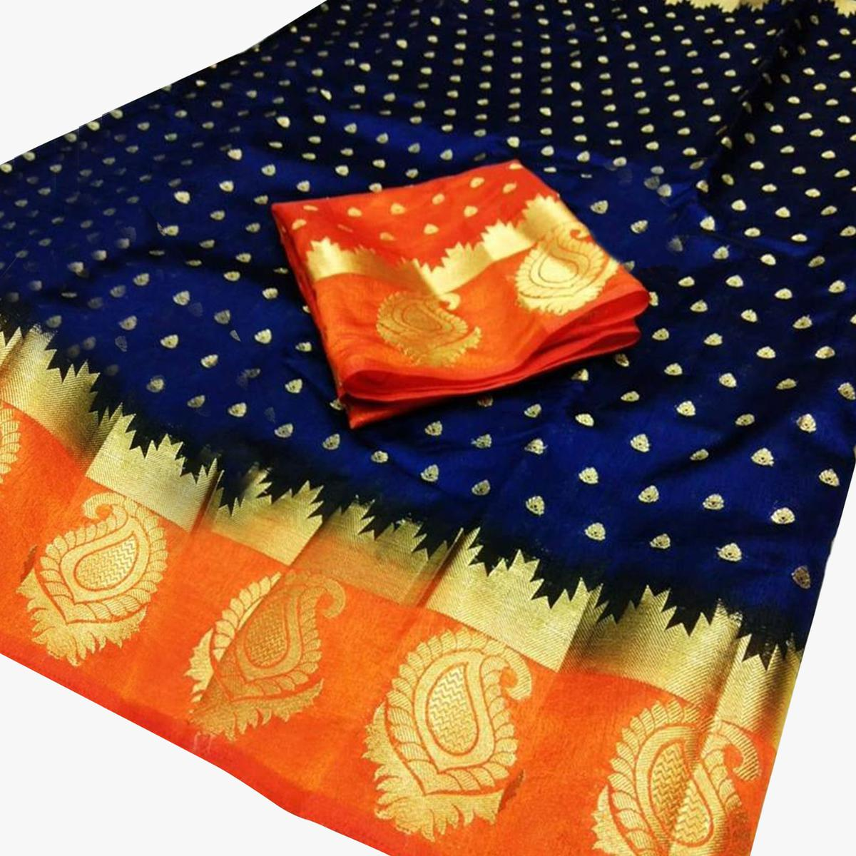 Stunning Navy Blue-Orange Colored Festive Wear Woven Cotton Silk Saree