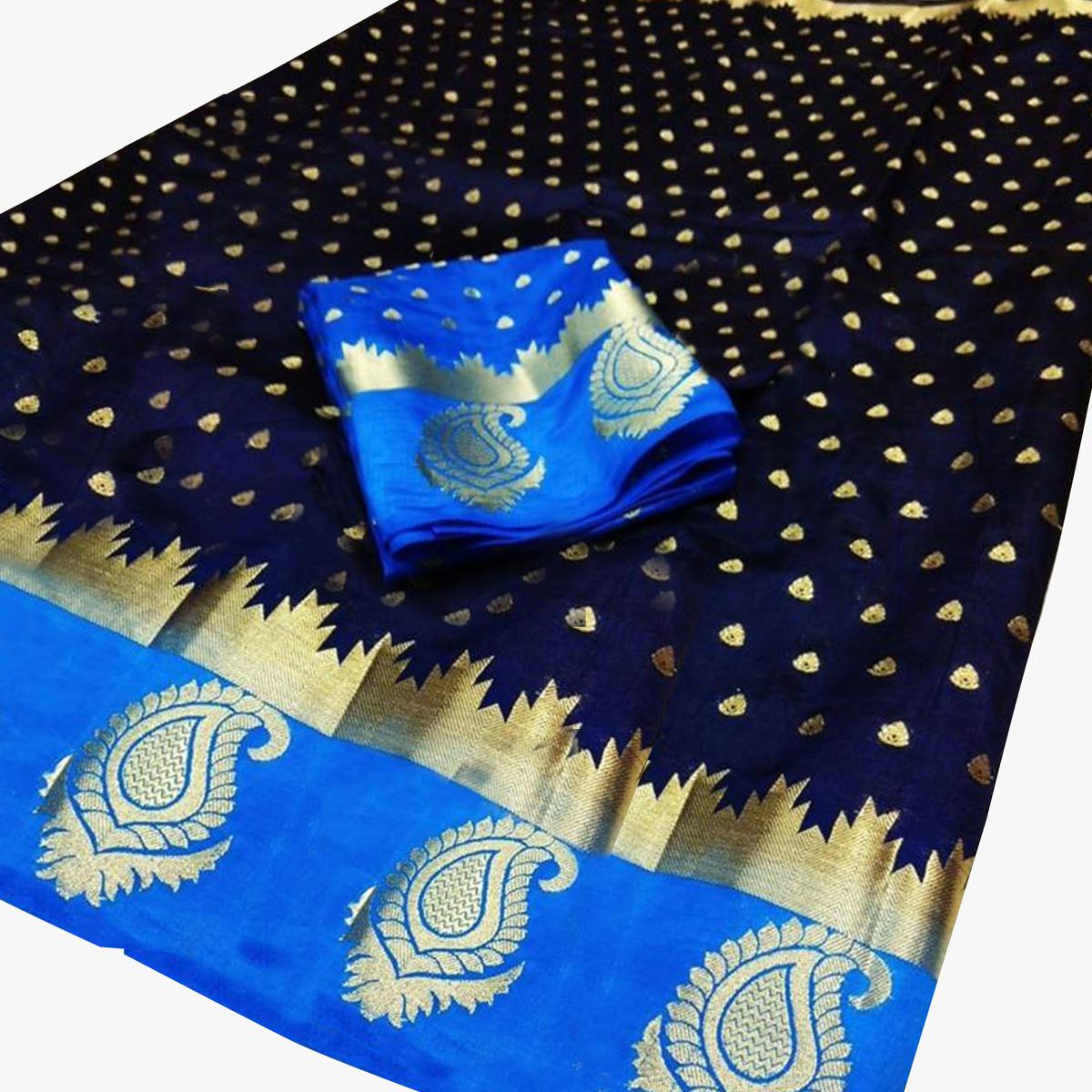 Energetic Navy Blue-Blue Colored Festive Wear Woven Cotton Silk Saree