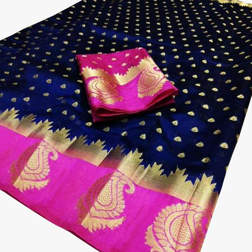 Classy Navy Blue-Pink Colored Festive Wear Woven Cotton Silk Saree