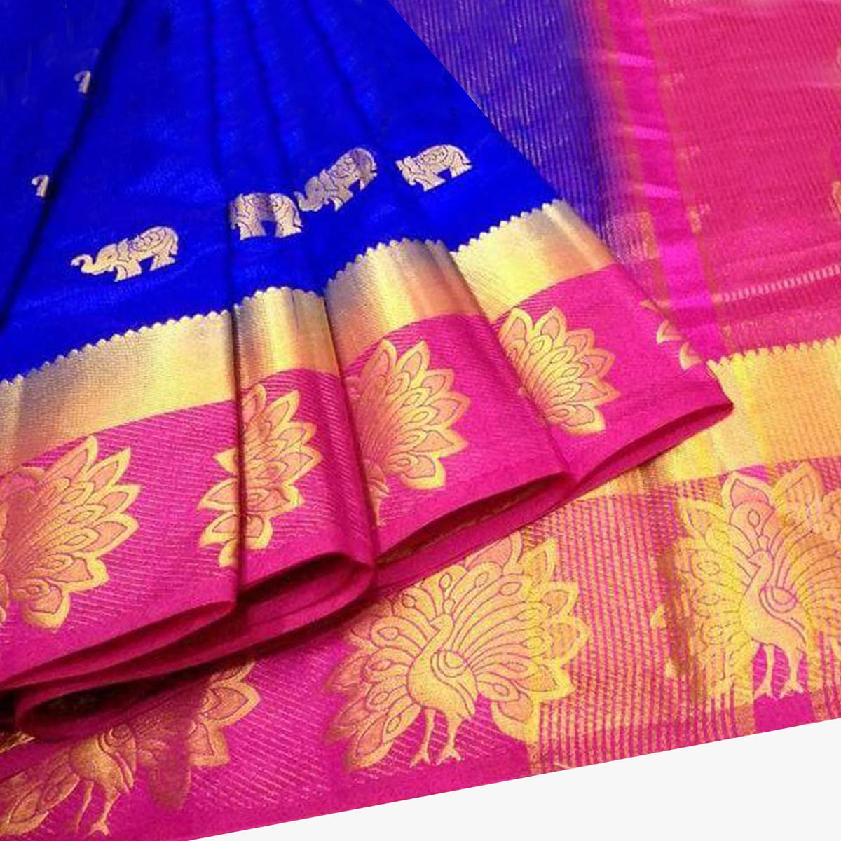 Glowing Blue Colored Festive Wear Woven Tussar Silk Saree