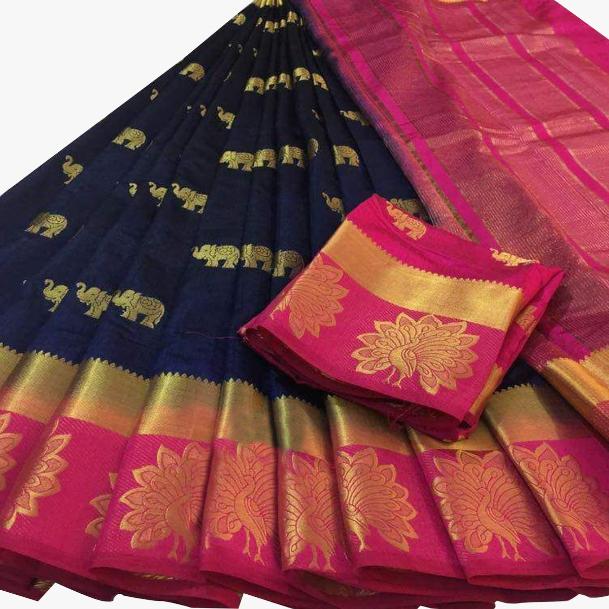 Gleaming Navy Blue Colored Festive Wear Woven Tussar Silk Saree